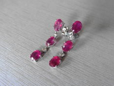 18k Gold Ruby and Diamond Drop Earrings