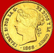 Spain – Isabel II (1833–1868), 4 pesos gold coin, Manila – 1868. Philippine Islands.