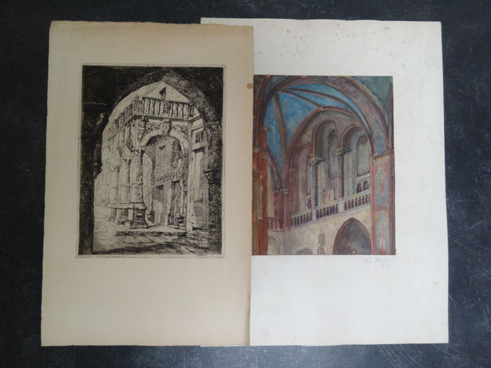 Reinier J. Hoowy (20th century) - Stadtweinhaus Münster (etching) - Dom Münster (watercolour)
