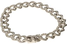 White gold link bracelet with 251 brilliant cut diamonds, 2.51 ct in total - Length 18.5 cm