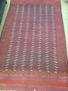 Ancient Kilim, woven and embroidered, Turkoman origin, dimensions 340 cm x 195 cm, circa 1950