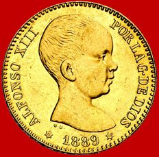Spain – Alfonso XIII – 20 pesetas gold coin – 1889 /* 89 – Madrid. MPM.