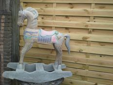 Magnificent solid wood rocking horse in beautiful pastel colours