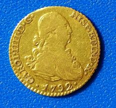 Spain, 1 escudo Gold coin Carlos IV 1792 Madrid MF