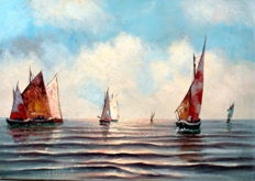 "Unknown artist, oil on canvas, ""Sailing vessels in the surf""."