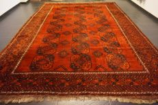 Beautiful, Afghan, Art Deco, oriental carpet, wool on wool, made in Afghanistan, 295 x 415 cm, antique, old, rug