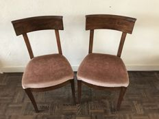 Two mahogany chairs with fabric seating, ca. 1920