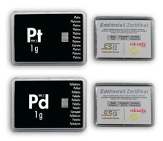 Germany - 1 x 1 gram of 999.5 palladium + 1 x 1 gram 999.5 platinum bar with box and certificate - ESG Valcambi