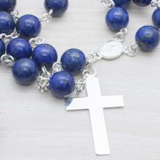 925/1000 Sterling Silver & Lapis Lazuli Rosary - Length: 65 cm