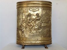 Large copper umbrella stand on lion paws with an original inner bin.