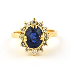 Magnificent Sapphire (2.00ct)  & Diamond (0.60ct GH / VS) set on 18k Yellow Gold - E.U Size 50 (resizable)