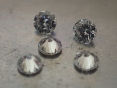 Lot of 5 brilliant-cut diamonds of 2.50 mm, 0.30 ct in total, E/VVS