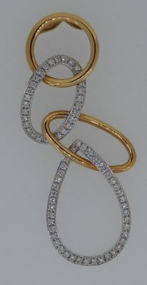 Handmade 18 kt white/red gold pendant set with top quality brilliant cut diamonds 0.40 ct