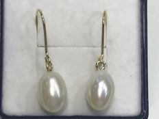 Long earrings in gold with cultured pearl