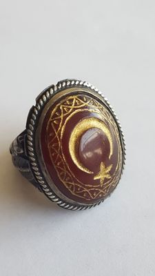 Oriental 925 Siver Ring 18.5 mm. With Engraved Agate Stone