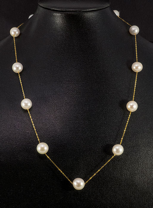 18 kt gold necklace, fine chain with cultivated pearls, length: approx. 44 cm - new