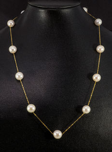 18kt gold necklace, fine anchor chain with cultivated pearls, length: approx. 44cm