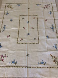 Linen hand embroidered breakfast tablecloth.