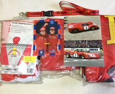 Michael Schumacher raincoat 2000 + 2 Ferrari flags 1999 + GP Monaco 2001 Schumacher and Barrichello postcard, limited edition + Ferrari keyring 1990 + 2 postcards of Ferrari 330 P4 from 1967 - Ferrari 321 P from 1971
