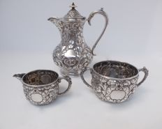 Victorian silver coffee set 3 pcs - Horace Woodward & Co Ltd - London - 1899