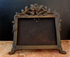 A Large and Heavy (4 kg) Cast Bronze Footed Photo Frame ,ca. 1950