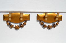 Pair of apliques , gilt wood and plaster ( flowers ) - France 1940