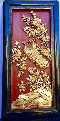 Gilt Carved Wood Panel - China - 19th century