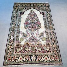 COLLECTOR'S ITEM: unique semi-antique Ghom Persian rug – Entirely made of silk – 128 x 80 cm - With certificate