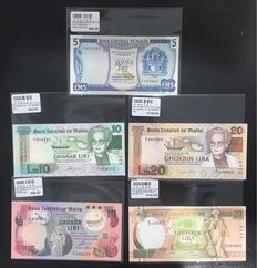 Malta - 5 different banknotes - Pick 32, 36, 39, 40 and 48.