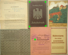 German Arbeitsbuch: 1st type from Berlin + Transit Camp Munich letter + Ration coupon cards +  Diphterieschutzimpung. WW2