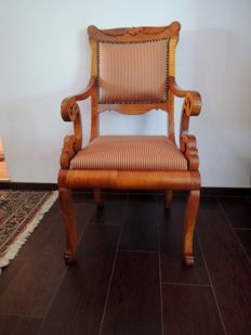Biedermeier cherry wood armchair, Austria, ca 1840