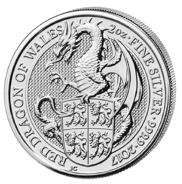 Great Britain - 5 Pounds 2017 'Queen's Beasts - Red Dragon of Wales' - 2 oz silver
