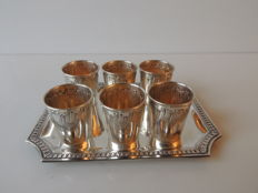 Hack Charles & Hourdequin Achille - lot of 6 cups + 1 tray - minerve punch - 176 grams - ca. 1885