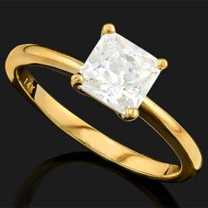 14KT gold ring set with VS 6 mm created moissanites  - ring size US 7