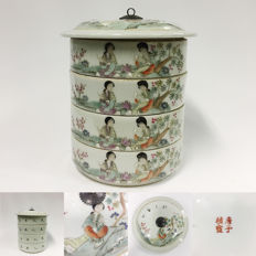 Chinese porcelain tiffin - Mei ren ru yu 美人如玉 - China - End of 20th century