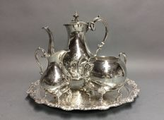 Silver plated coffee-set on a matching serving tray, England, ca. 1930