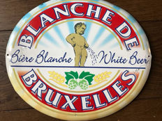 "Magnificent rare advertising sign ""Blanche de Bruxelles"""