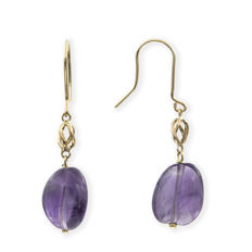 18 kt yellow gold - Earrings with fish hook clasp - Amethyst - Earring height: 40.10 mm