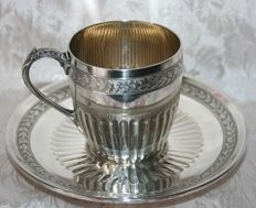 Sterling silver cup and saucer, Master Silversmiths Henin+Vivier Paris, 1891-1896