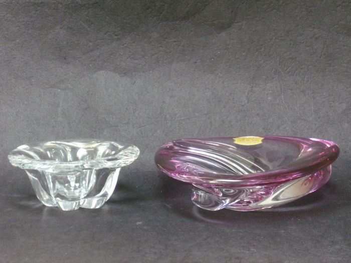 Val Saint Lambert - crystal bowl / vide poche and crystal ashtray