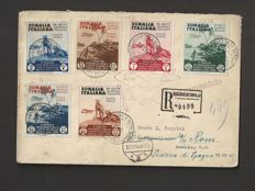 "Somalia, 1934 – Complete ""Colonia Art Exhibition"" series on registered envelope from Mogadishu to Berlin, and then shipped back to Rome – Sass. No.  167; 193/198 and A1/6."