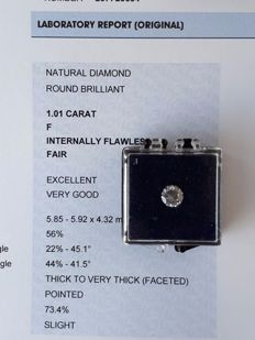 Brilliant cut diamond, 1.01 ct, F, IF, loupe clean, excellent polish, including IGI certificate.