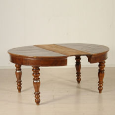 Extendable round dining table - Italy - early 20th century