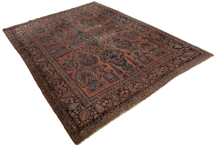 (Size: 367 x 270 cm) Large Masterpiece Antique-manufacture Rug, Original Authentic American Sarouk (Oriental Persian) (HAND-knotted) (1900-1920) With Certificate of Authenticity from an official appraiser (Galleria Farah 1970)
