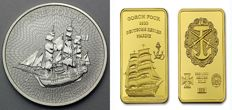 Cook Islands - 1 Cook Dollar - 1 oz Bounty sailing ship 999 silver + 1 embossed bullion bar Gorch Fock - 24 karat gold plating