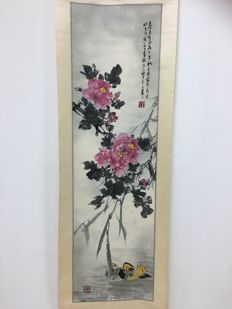 Landscape painting of Chinese mandarin ducks and flowers - China - late 20th century