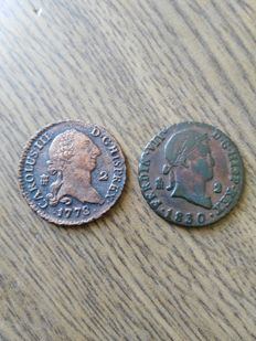 Spain - 2 maradeví coins (two pieces) - Carlos III and Fernando VII