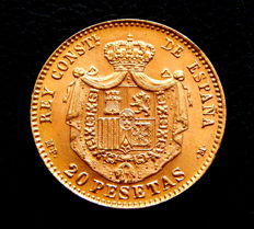 Spain – Alfonso XIII – 20 Pesetas 1896*19-62 – Official reminting – gold.