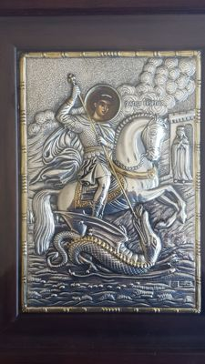 Religious silver icon, St.George