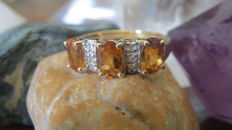 Gold women's ring set with natural citrines & diamonds.